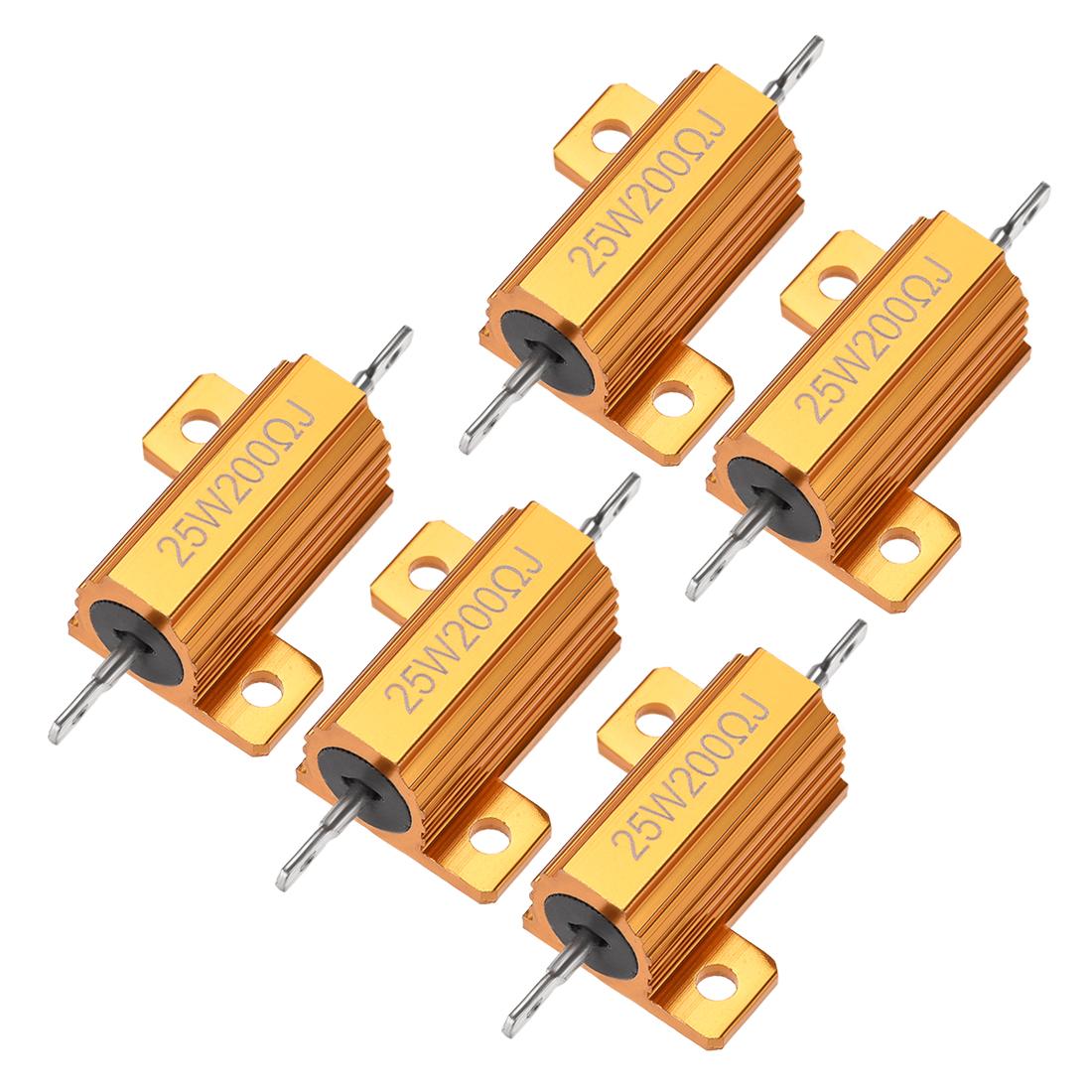 25W 200 Ohm 5% Aluminum Housing Resistor Wirewound Resistor Gold Tone 5 Pcs
