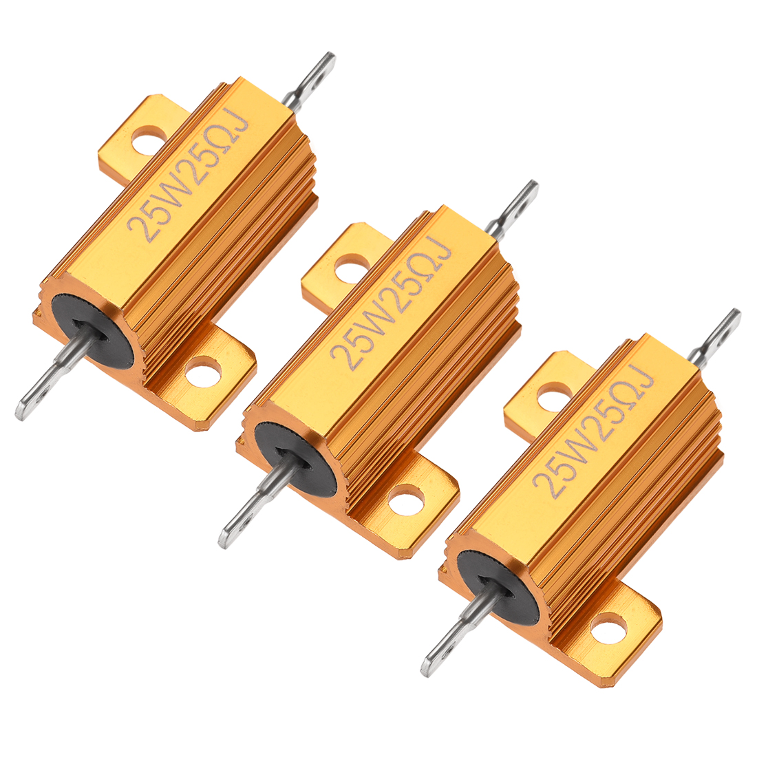 25W 25 Ohm 5% Aluminum Housing Resistor Wirewound Resistor Gold Tone 3 Pcs