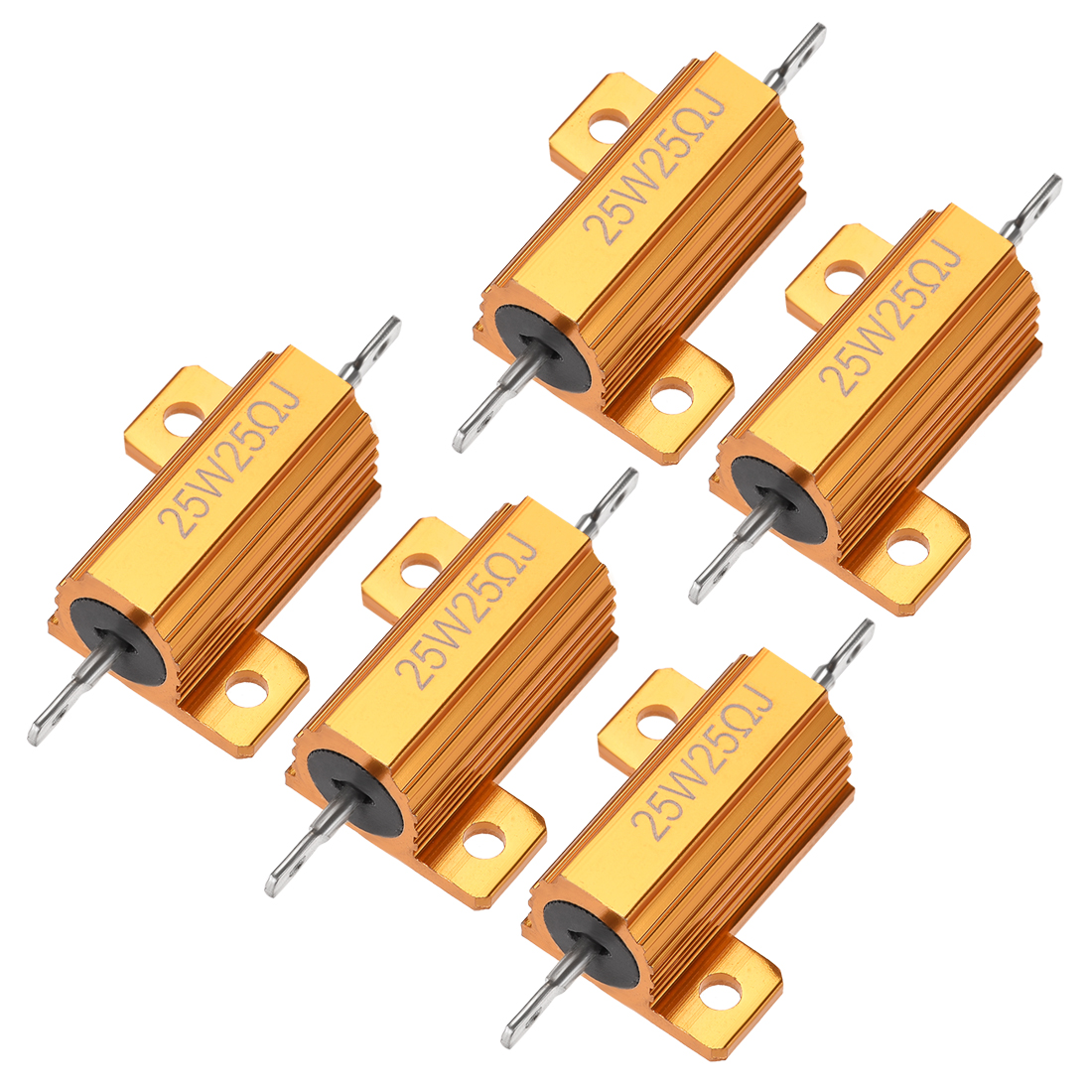 25W 25 Ohm 5% Aluminum Housing Resistor Wirewound Resistor Gold Tone 5 Pcs