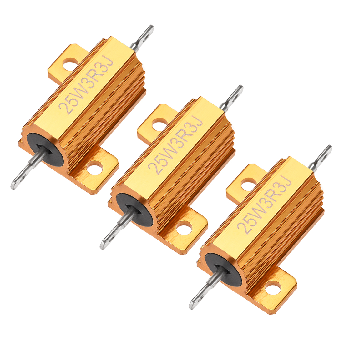 25W 3.3 Ohm 5% Aluminum Housing Resistor Wirewound Resistor Gold Tone 3 Pcs