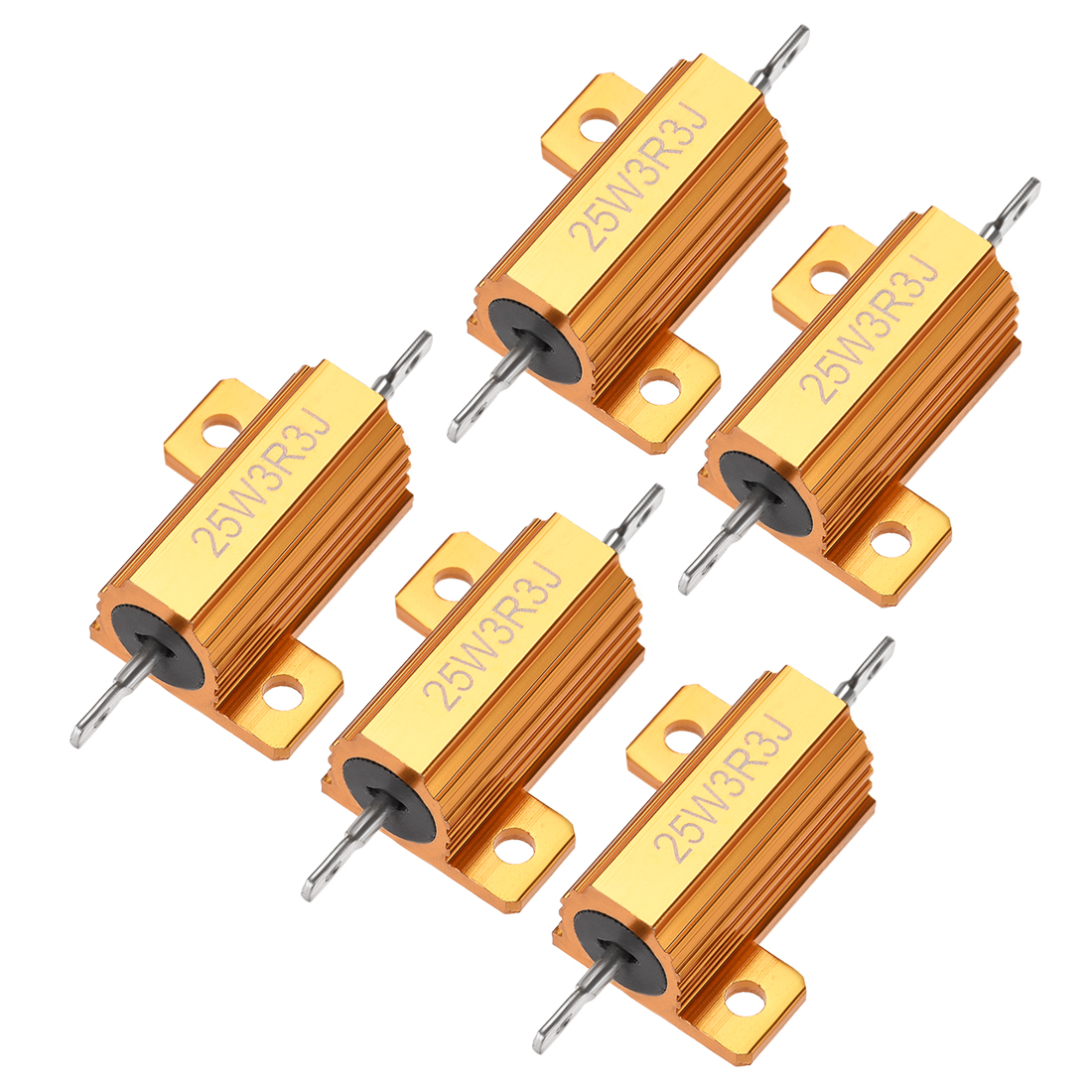 25W 3.3 Ohm 5% Aluminum Housing Resistor Wirewound Resistor Gold Tone 5 Pcs