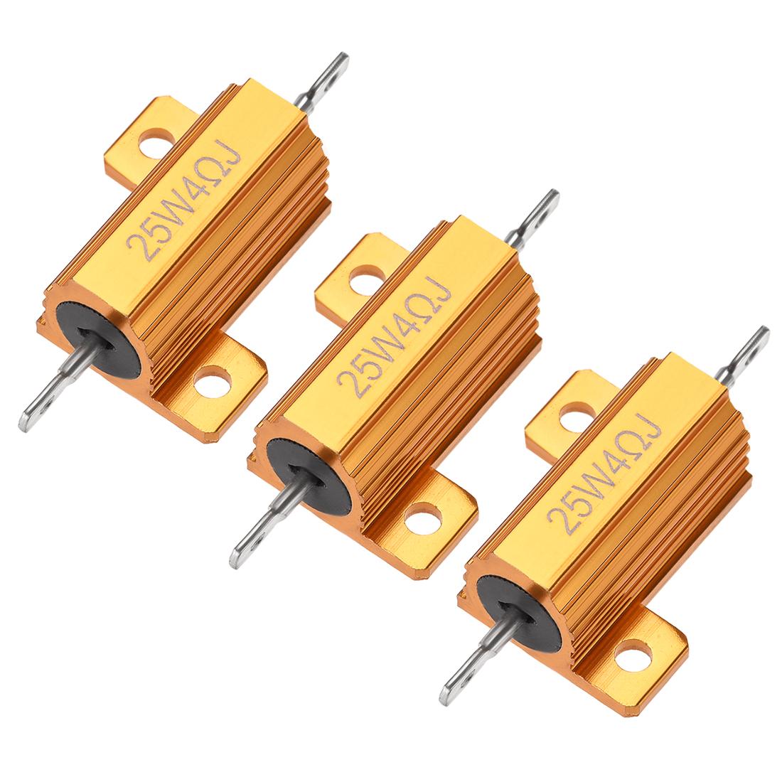 25W 4 Ohm 5% Aluminum Housing Resistor Wirewound Resistor Gold Tone 3 Pcs
