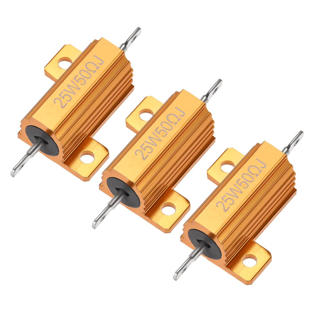 25W 50 Ohm 5% Aluminum Housing Resistor Wirewound Resistor Gold Tone 3 Pcs