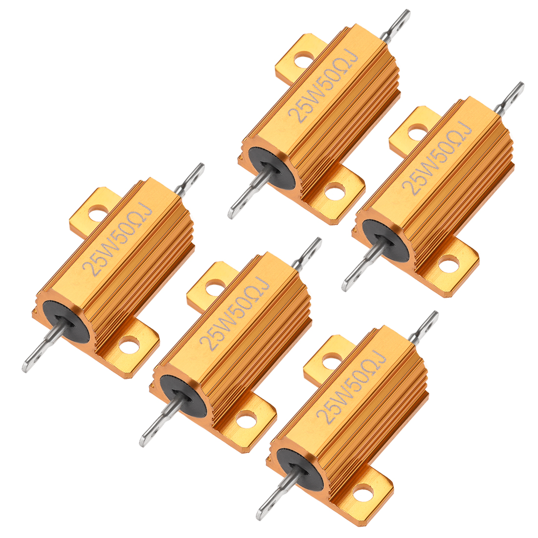 25W 50 Ohm 5% Aluminum Housing Resistor Wirewound Resistor Gold Tone 5 Pcs