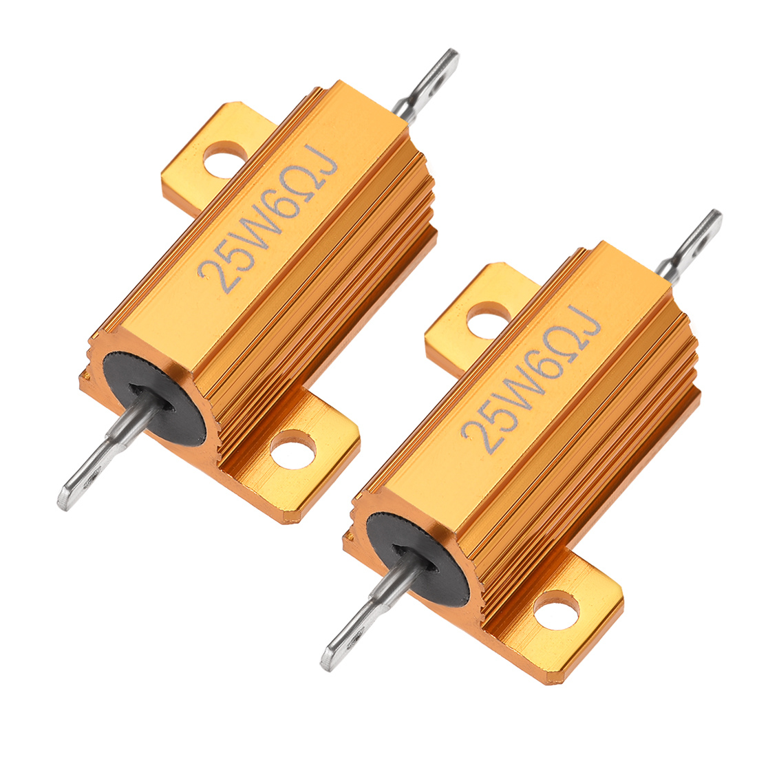 25Watt 6 Ohm 5% Aluminum Housing Resistor Wirewound Resistor Gold Tone 2 Pcs