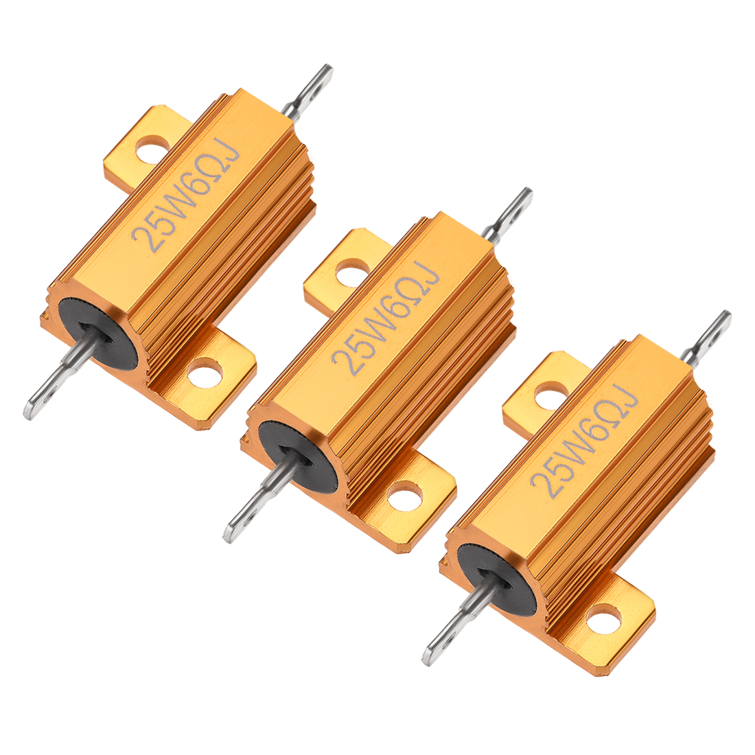 25W 6 Ohm 5% Aluminum Housing Resistor Wirewound Resistor Gold Tone 3 Pcs
