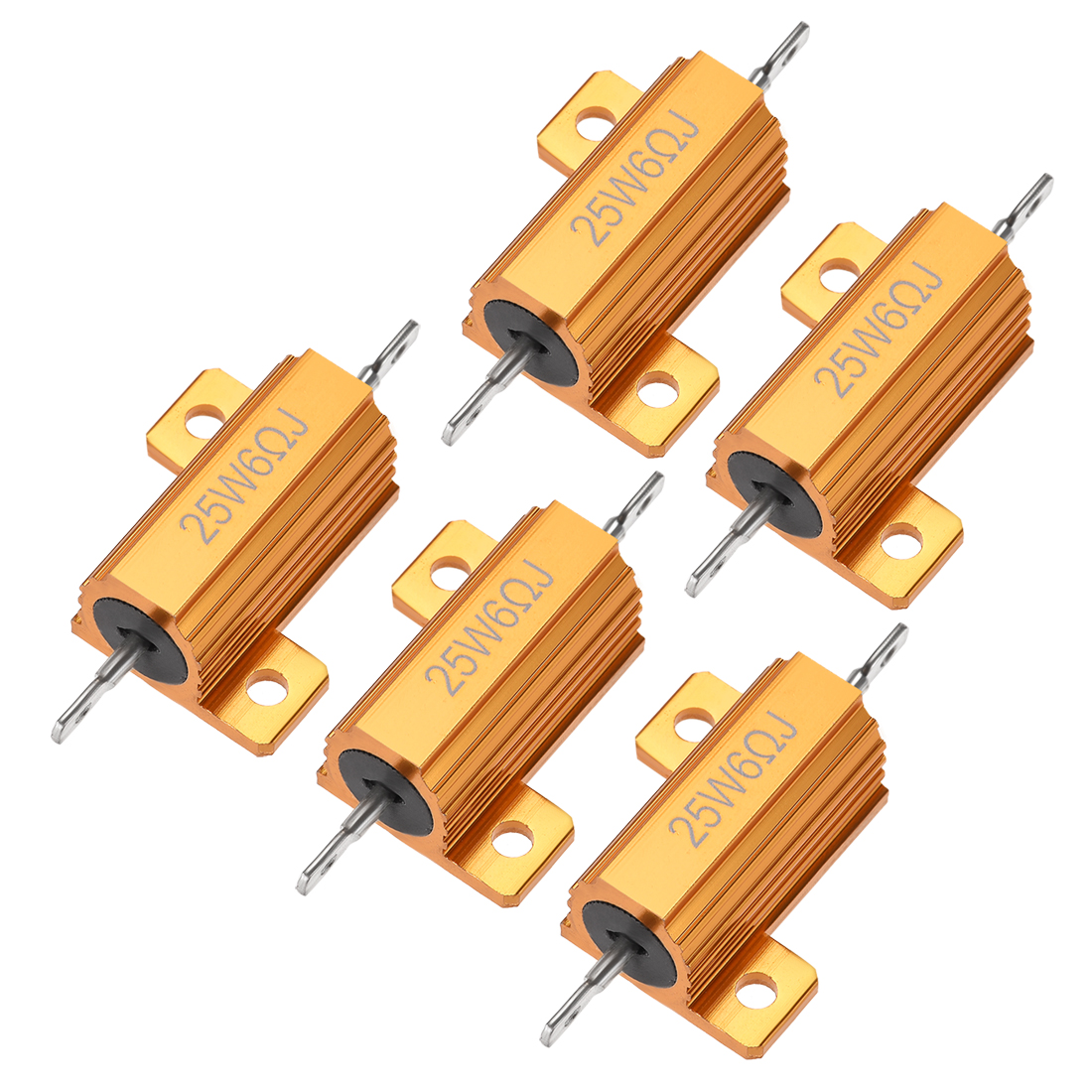 25W 6 Ohm 5% Aluminum Housing Resistor Wirewound Resistor Gold Tone 5 Pcs