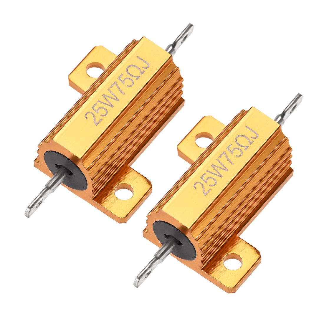 25Watt 75 Ohm 5% Aluminum Housing Resistor Wirewound Resistor Gold Tone 2 Pcs