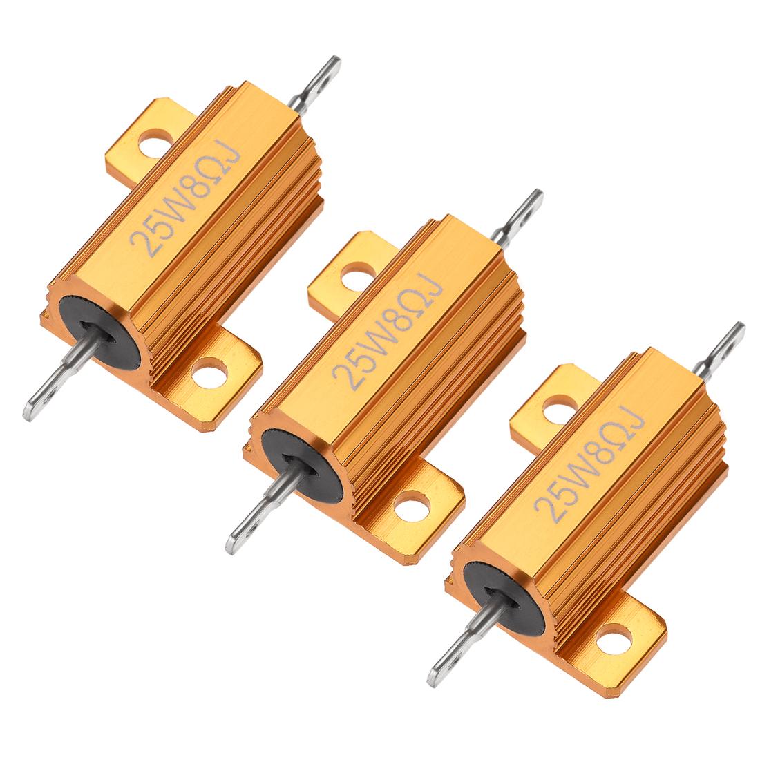 25W 8 Ohm 5% Aluminum Housing Resistor Wirewound Resistor Gold Tone 3 Pcs
