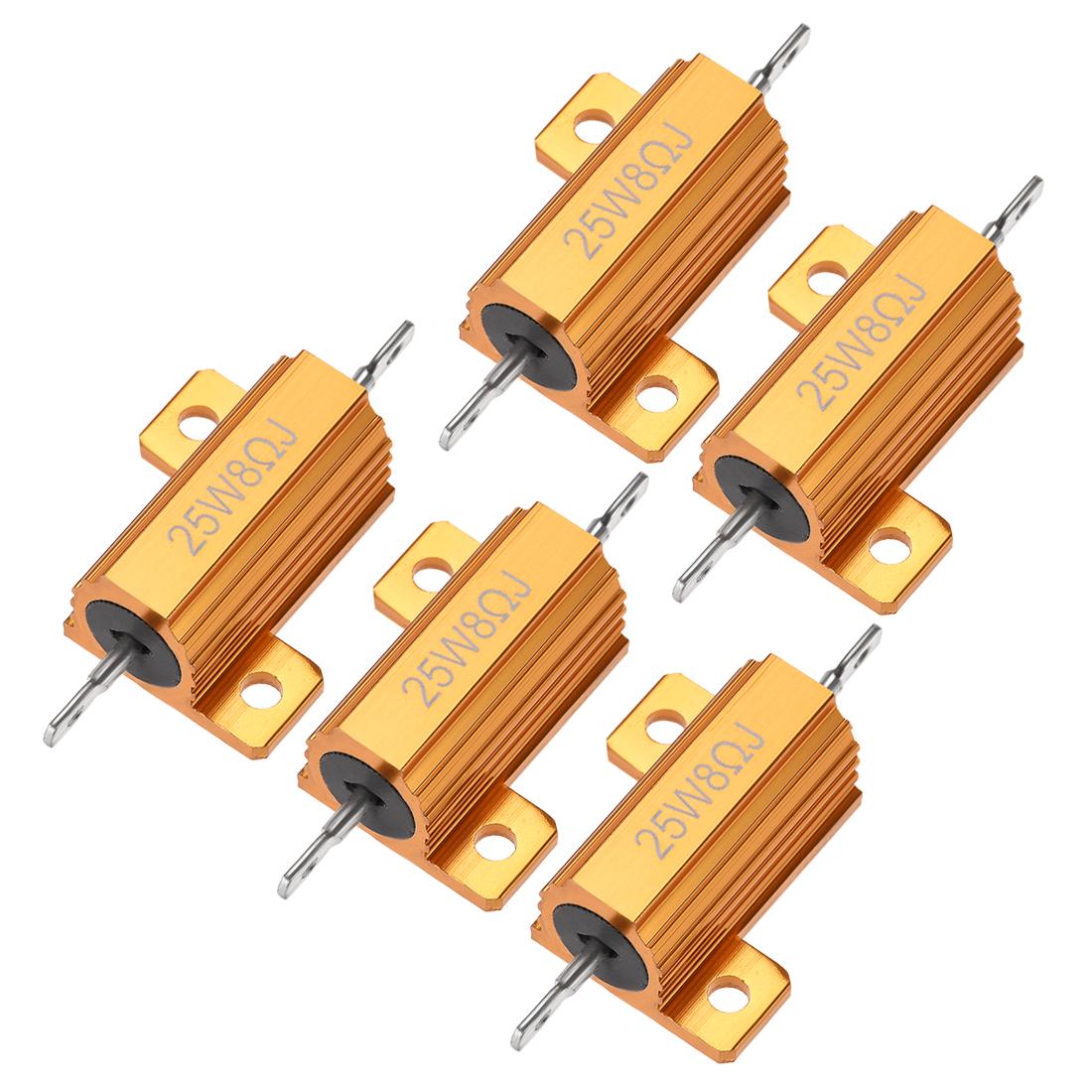 25Watt 8 Ohm 5% Aluminum Housing Resistor Wirewound Resistor Gold Tone 5 Pcs