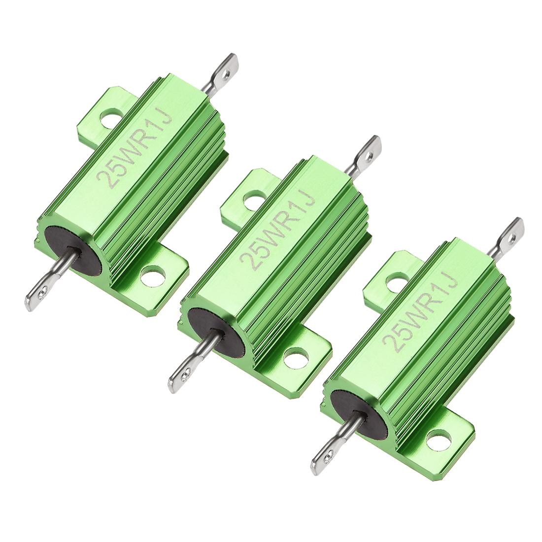 25W 0.1 Ohm 5% Aluminum Housing Resistor Wirewound Resistor Green Tone 3 Pcs