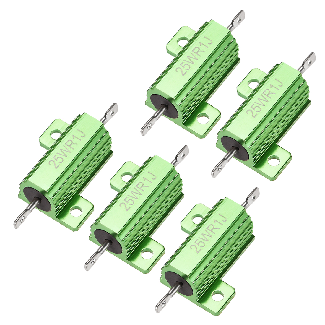 25W 0.1 Ohm 5% Aluminum Housing Resistor Wirewound Resistor Green Tone 5 Pcs