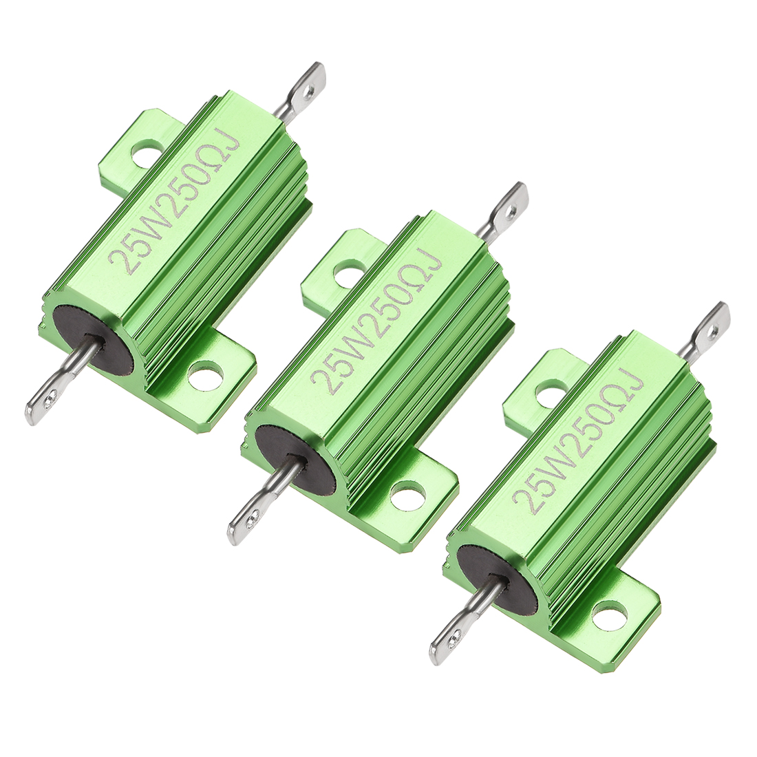 25W 250 Ohm 5% Aluminum Housing Resistor Wirewound Resistor Green Tone 3 Pcs