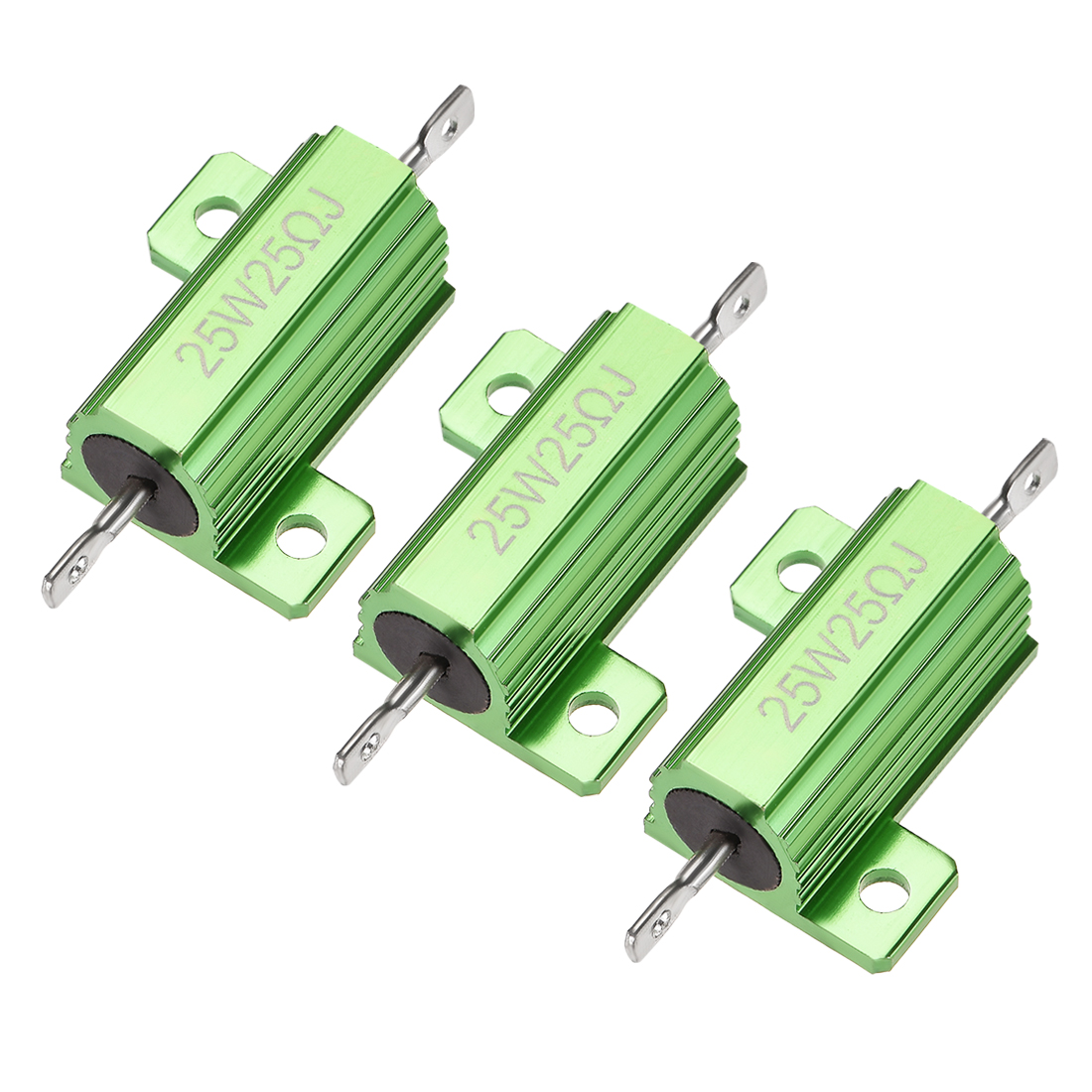 25W 25 Ohm 5% Aluminum Housing Resistor Wirewound Resistor Green Tone 3 Pcs