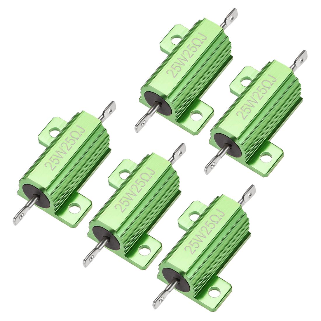 25W 25 Ohm 5% Aluminum Housing Resistor Wirewound Resistor Green Tone 5 Pcs
