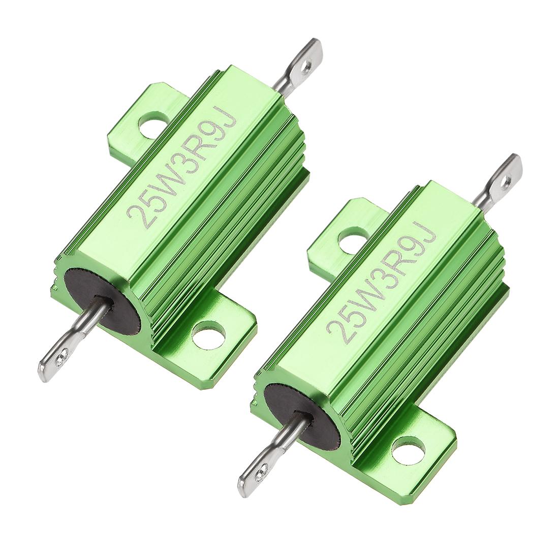 25W 3.9 Ohm 5% Aluminum Housing Resistor Wirewound Resistor Green Tone 2 Pcs