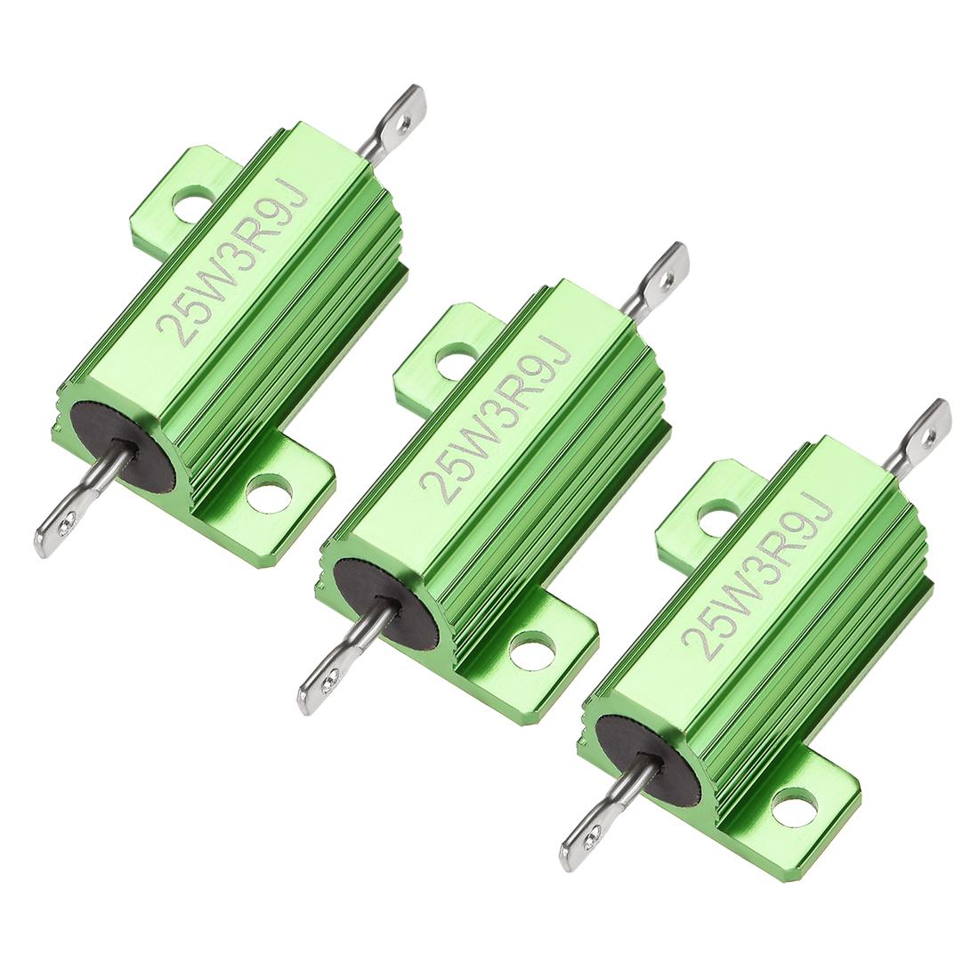25W 3.9 Ohm 5% Aluminum Housing Resistor Wirewound Resistor Green Tone 3 Pcs