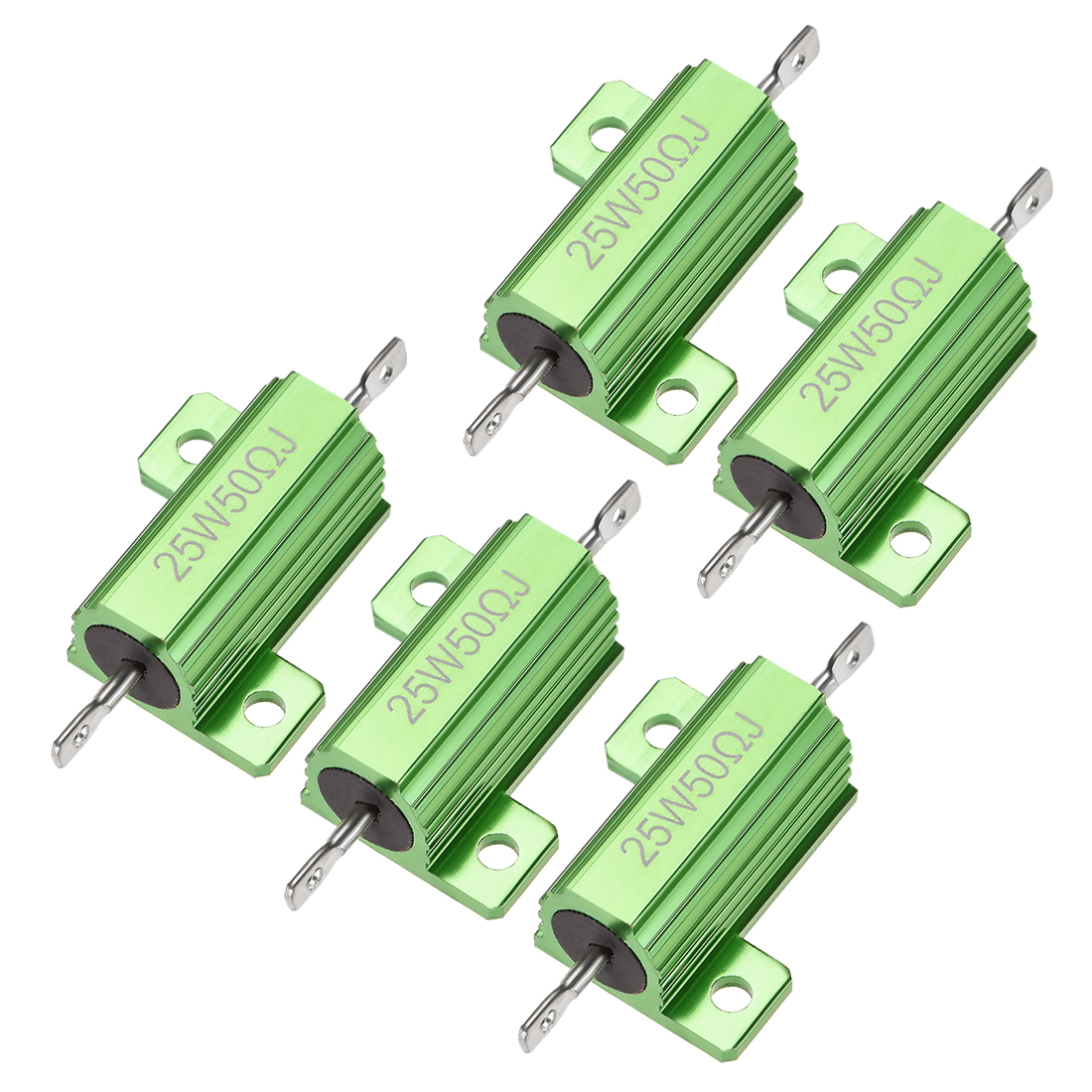 25W 50 Ohm 5% Aluminum Housing Resistor Wirewound Resistor Green Tone 5 Pcs