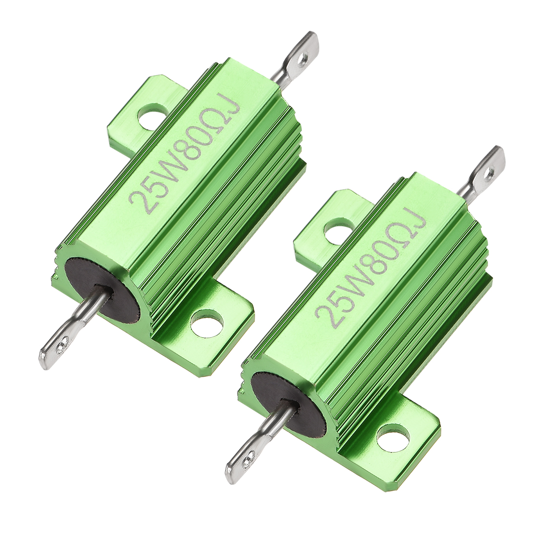 25W 80 Ohm 5% Aluminum Housing Resistor Wirewound Resistor Green Tone 2 Pcs