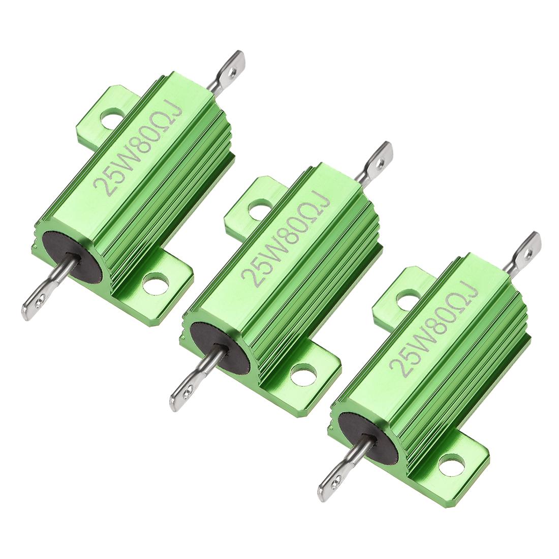 25W 80 Ohm 5% Aluminum Housing Resistor Wirewound Resistor Green Tone 3 Pcs