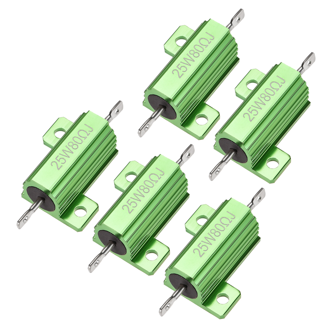 25W 80 Ohm 5% Aluminum Housing Resistor Wirewound Resistor Green Tone 5 Pcs