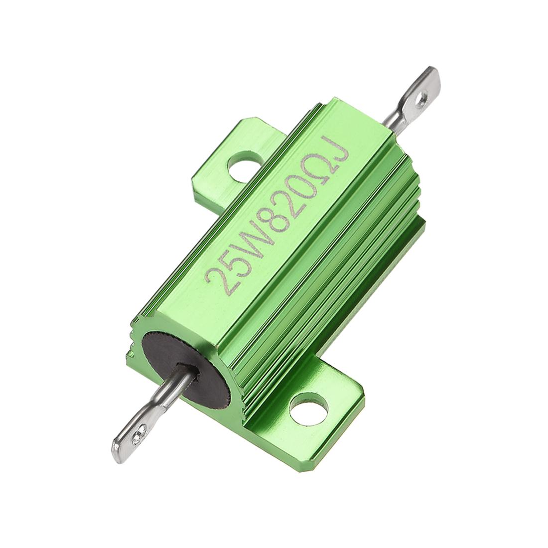 25W 820 Ohm 5% Aluminum Housing Resistor Wirewound Resistor Green Tone 1 Pcs