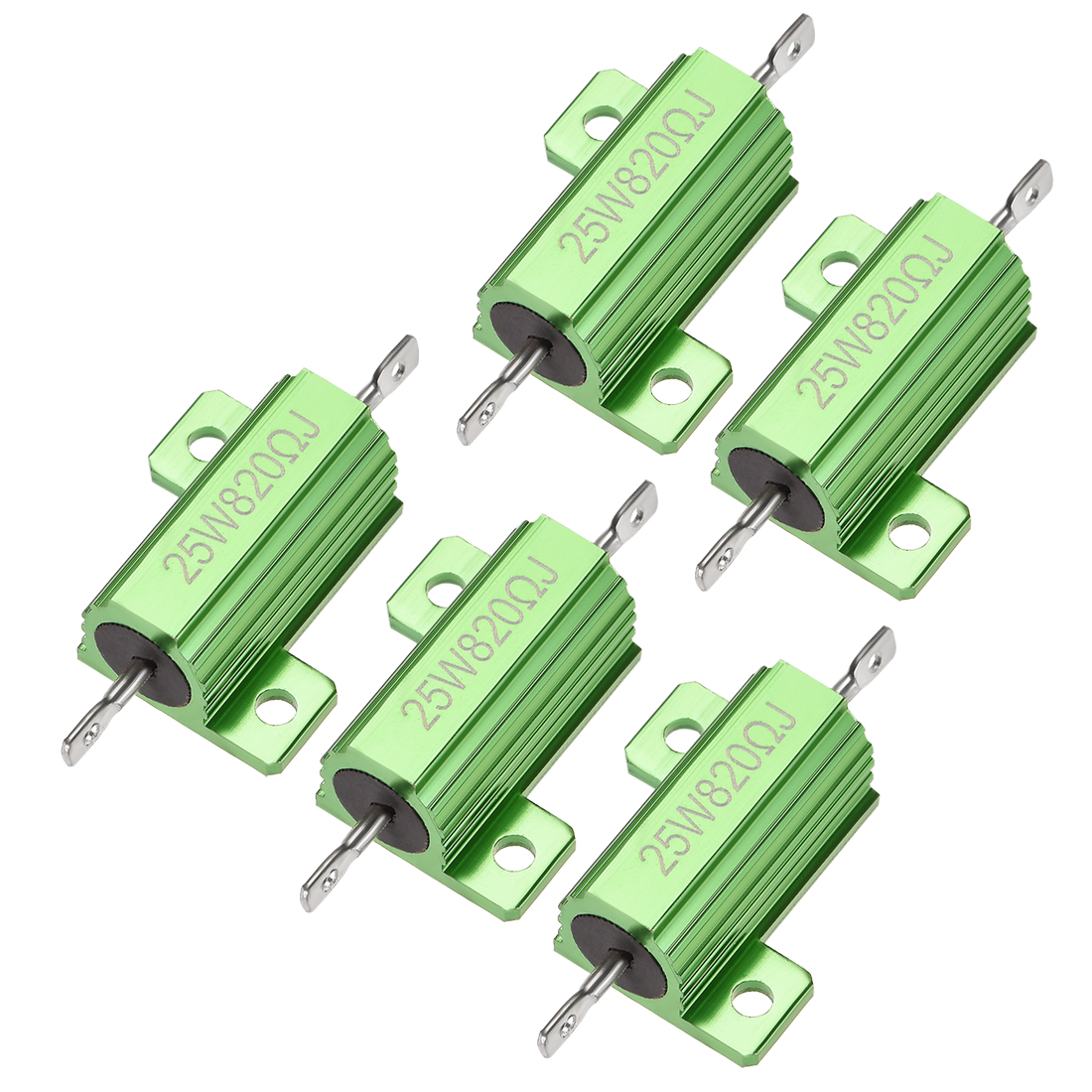 25W 820 Ohm 5% Aluminum Housing Resistor Wirewound Resistor Green Tone 5 Pcs