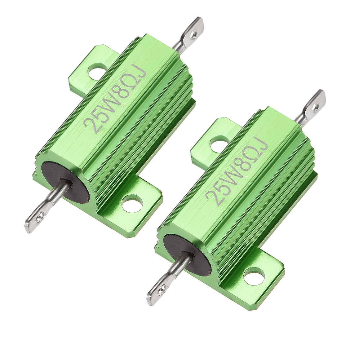 25W 8 Ohm 5% Aluminum Housing Resistor Wirewound Resistor Green Tone 2 Pcs