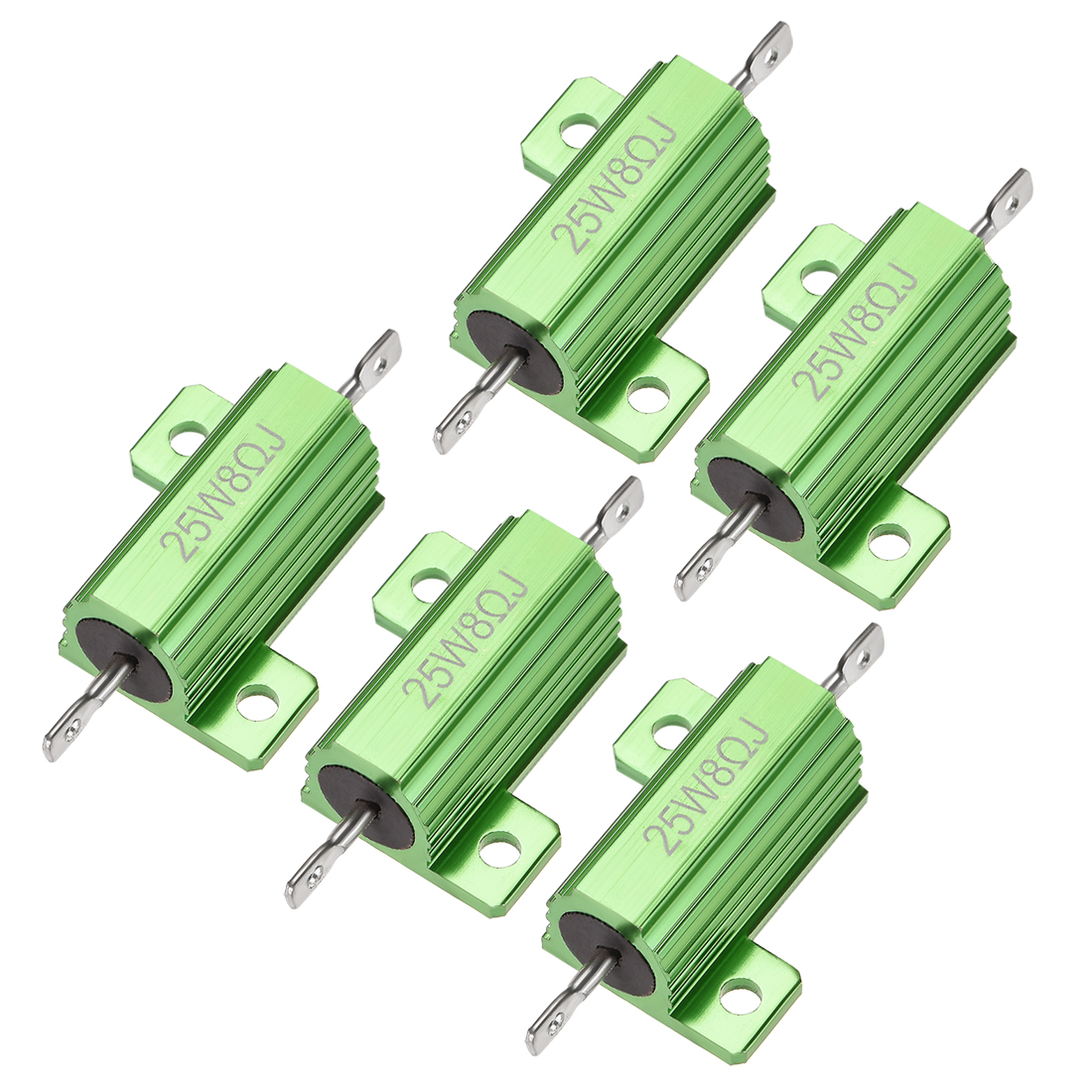 25W 8 Ohm 5% Aluminum Housing Resistor Wirewound Resistor Green Tone 5 Pcs