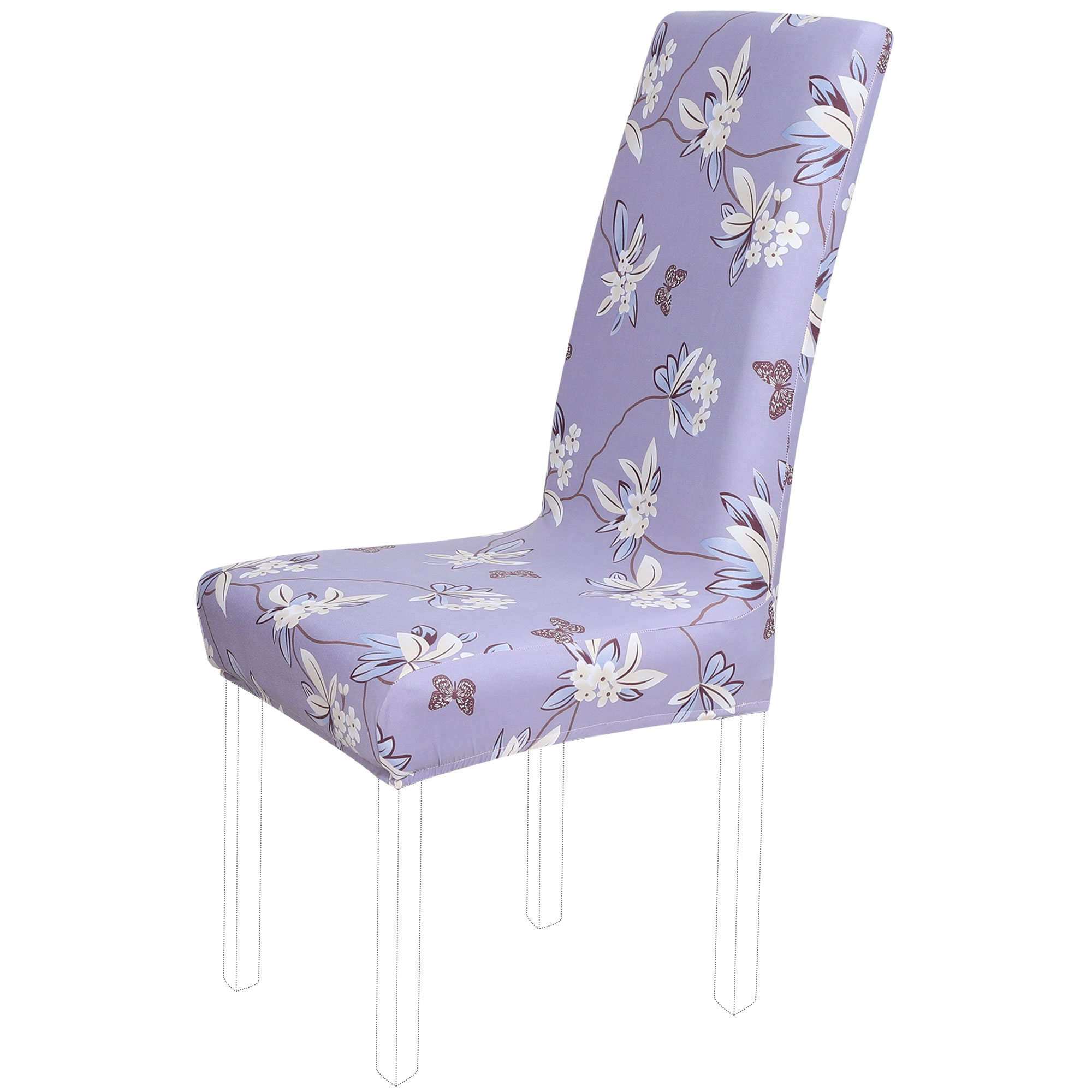 Floral Print Spandex Chair Covers Fit Home Dining Room Seat Slipcover Purple