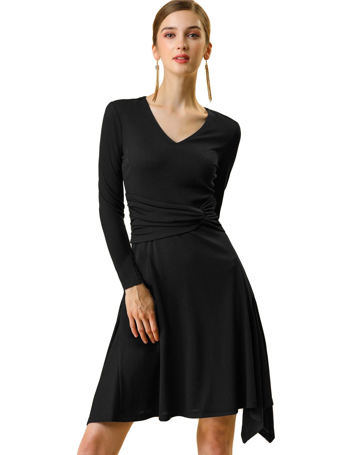 Women's V neck Waist Knot Asymmetrical Long Sleeve Knee Length Dress Black S