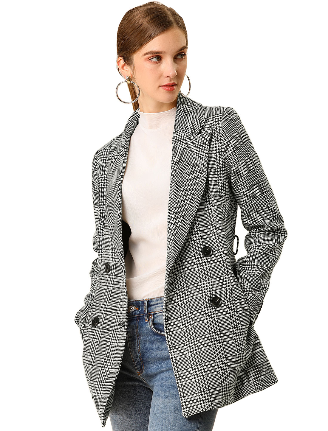 Women's Plaid Double Breasted Notched Lapel Belted Worsted Coat Black XL