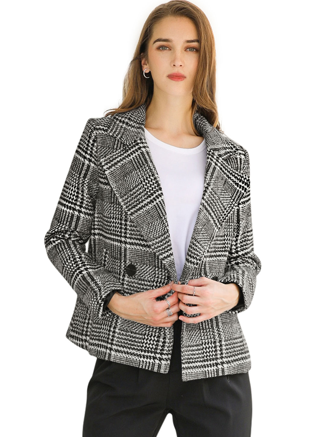Allegra K Women's Check Casual Jacket Notched Lapel Coat Black S