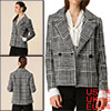 Allegra K Women's Plaid Casual Jacket Notched Lapel Button Down Coat Black L