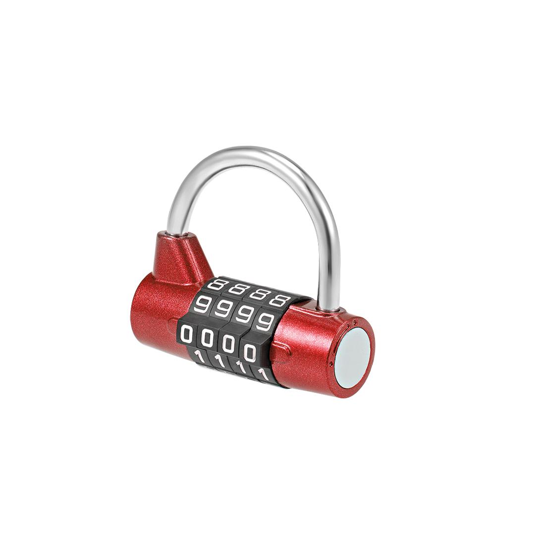 4-Digit Combination Padlock 2-inch Resettable Lock for Gate Locker Red