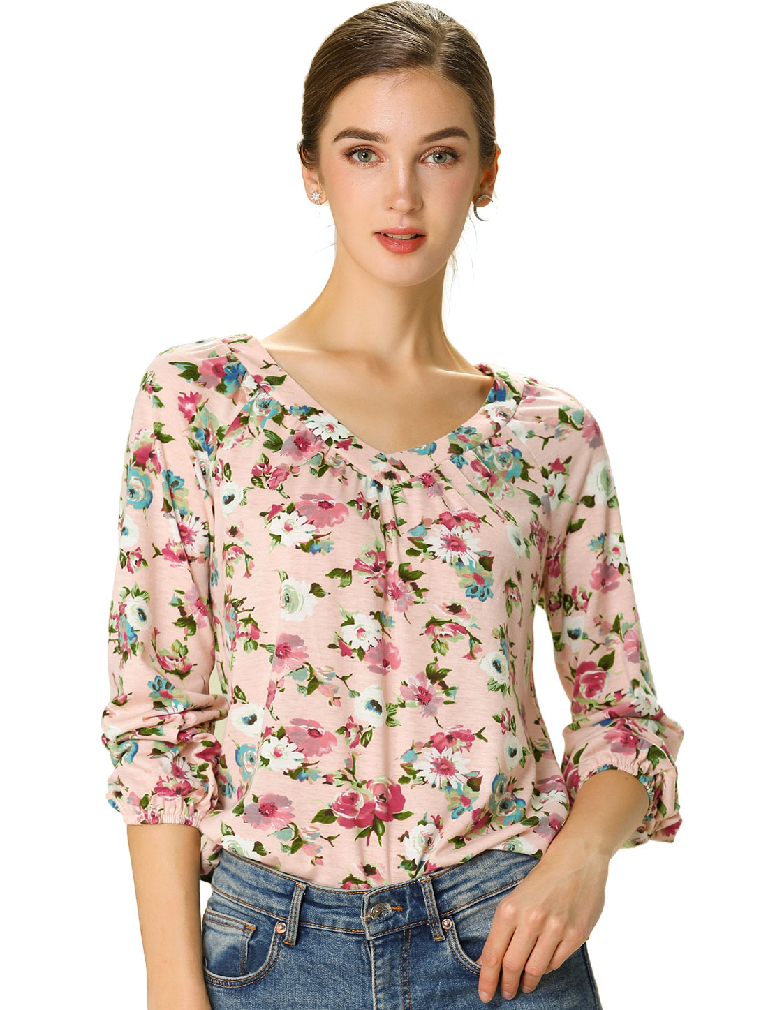 Women's Shirt 3/4 Sleeve Casual Loose V Neck Floral Blouse Top Pink L
