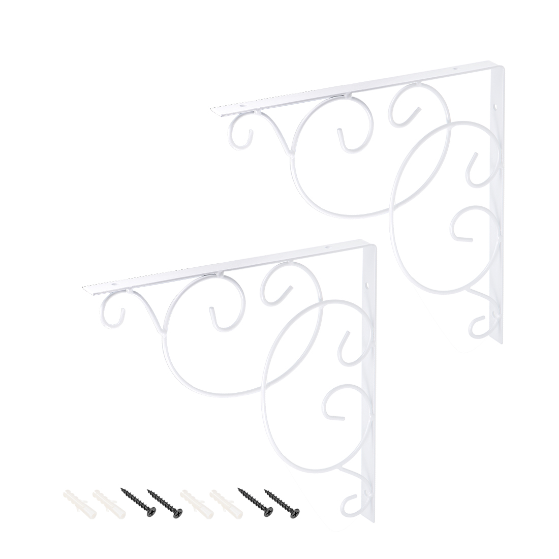 Shelf Bracket 250lbs Heavy-Duty 10-inch x 10-inch Floral Angle Brackets 2pcs