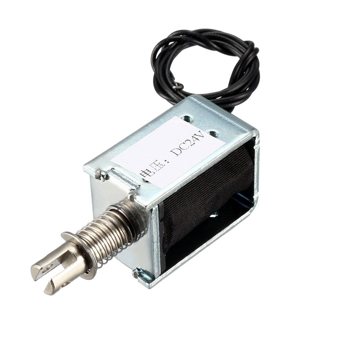 DC 24V Push Pull Type Solenoid Electromagnet, Open Frame, 5mm/400g 10mm/180g
