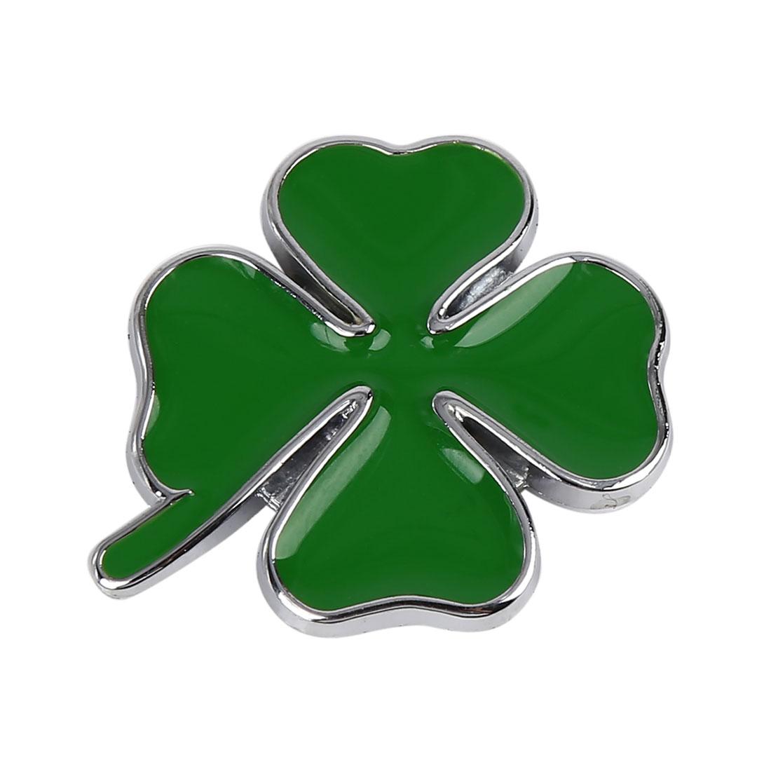 Green Four Leaves Shaped Car Decorative Emblem Badge Decal Sticker 4 x 3.5cm
