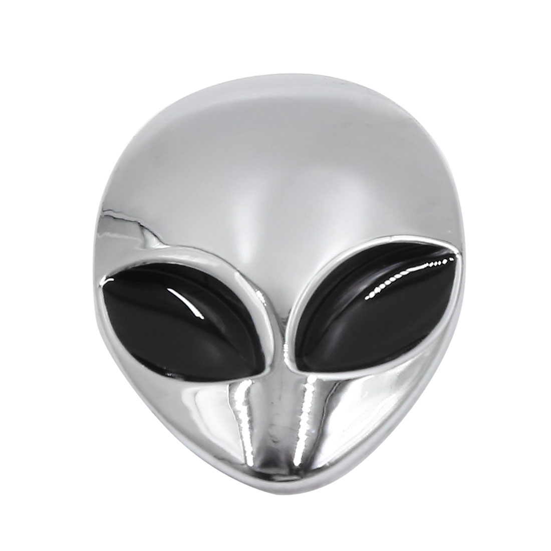Silver Tone 3D Alien Head Shaped Car Body Decorative Emblem Badge Decal Sticker