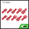 10 Sets Red Male Female Fully Insulated Wire Crimp Terminal Nylon Connector
