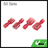 50 Sets Red Male Female Fully Insulated Wire Crimp Terminal Nylon Connector