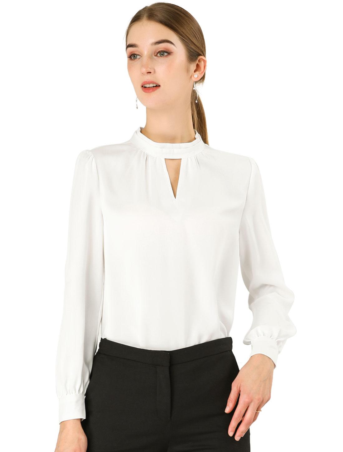 Allegra K Women's Keyhole Stand Collar Long Sleeve Blouse White L (US 14)