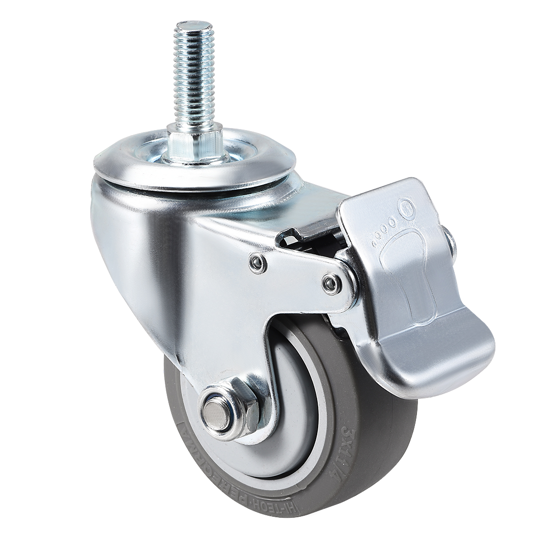 Swivel Caster Wheels TPR Caster 3 Inch Wheel M12 x 30mm Thread with Brake