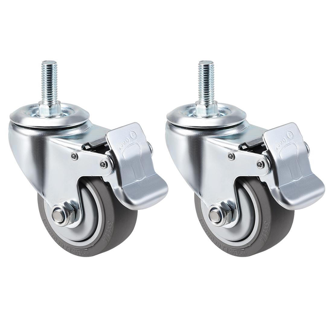 Swivel Caster Wheels TPR Caster 3 Inch Wheel M12 x 30mm Thread with Brake , 2pcs