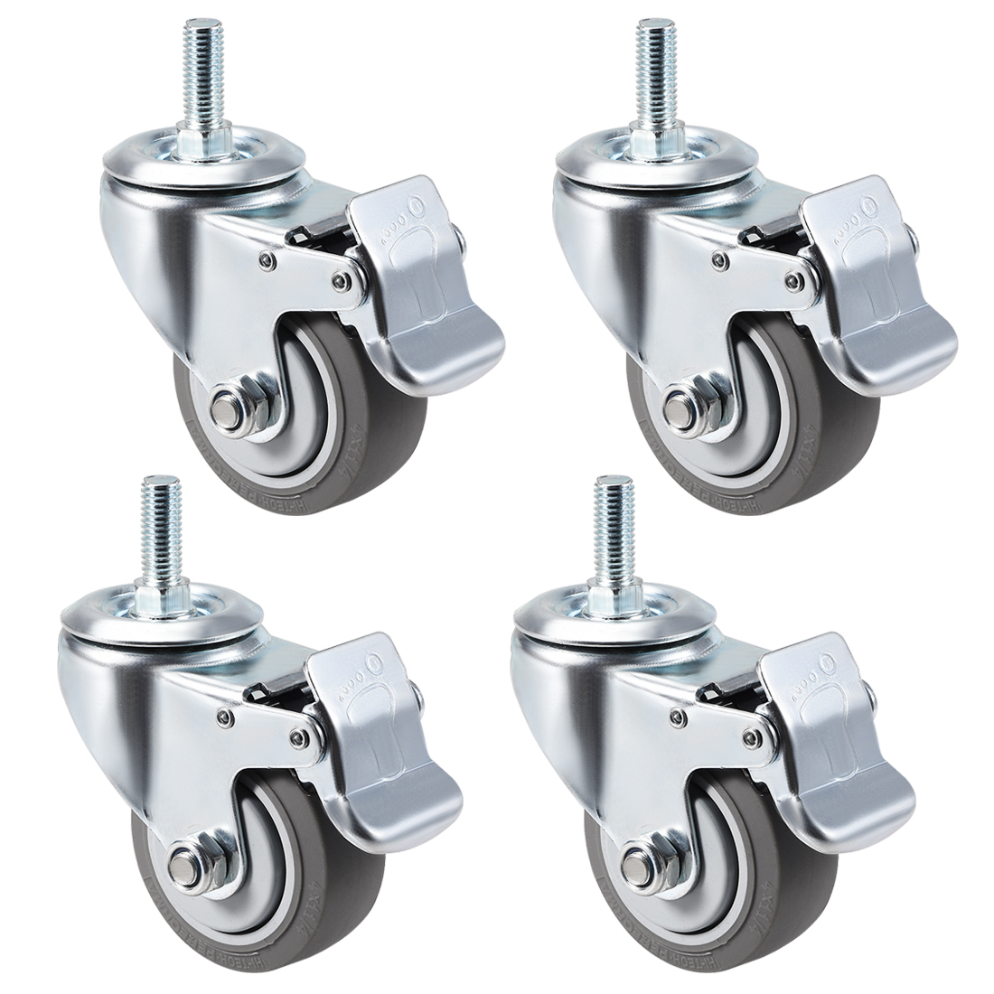 Swivel Caster Wheels TPR Caster 4 Inch Wheel M12 x 30mm Thread with Brake , 4pcs