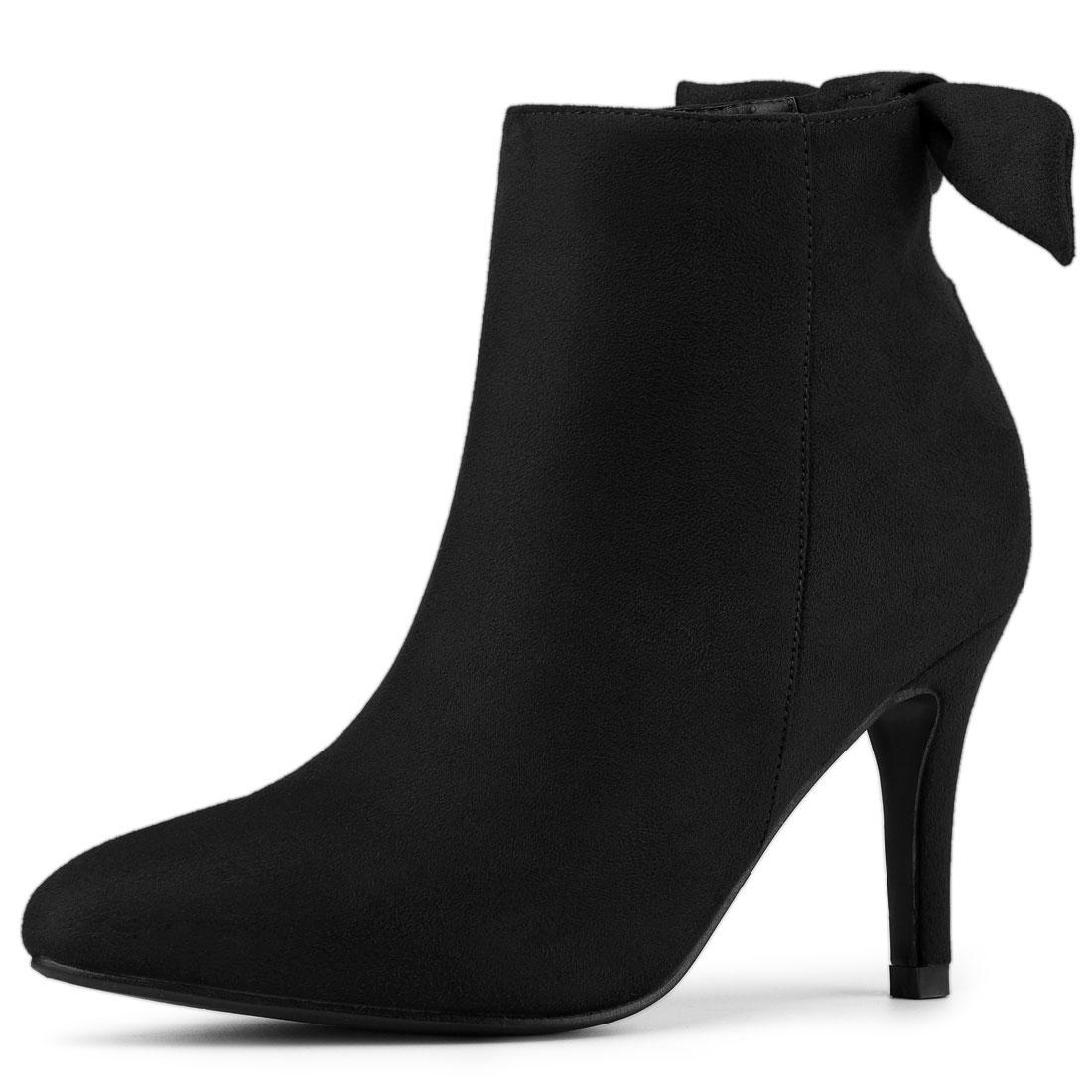 Allegra K Women's Pointed Toe Stiletto Heel Ankle Boots Black US 8