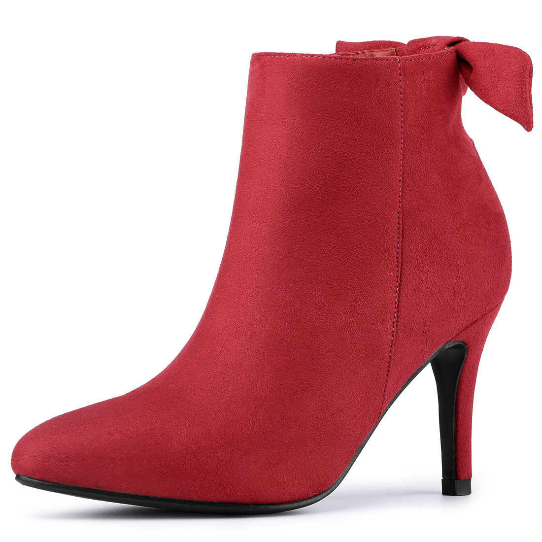 Allegra K Women's Pointed Toe Stiletto Heel Ankle Boots Red US 5.5