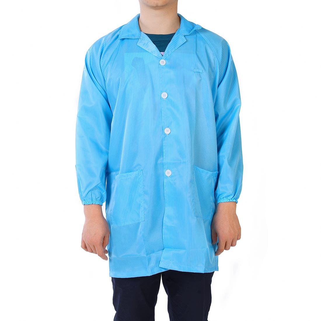 Anti Static Overalls Unisex ESD Lab Coat Button Up M Blue