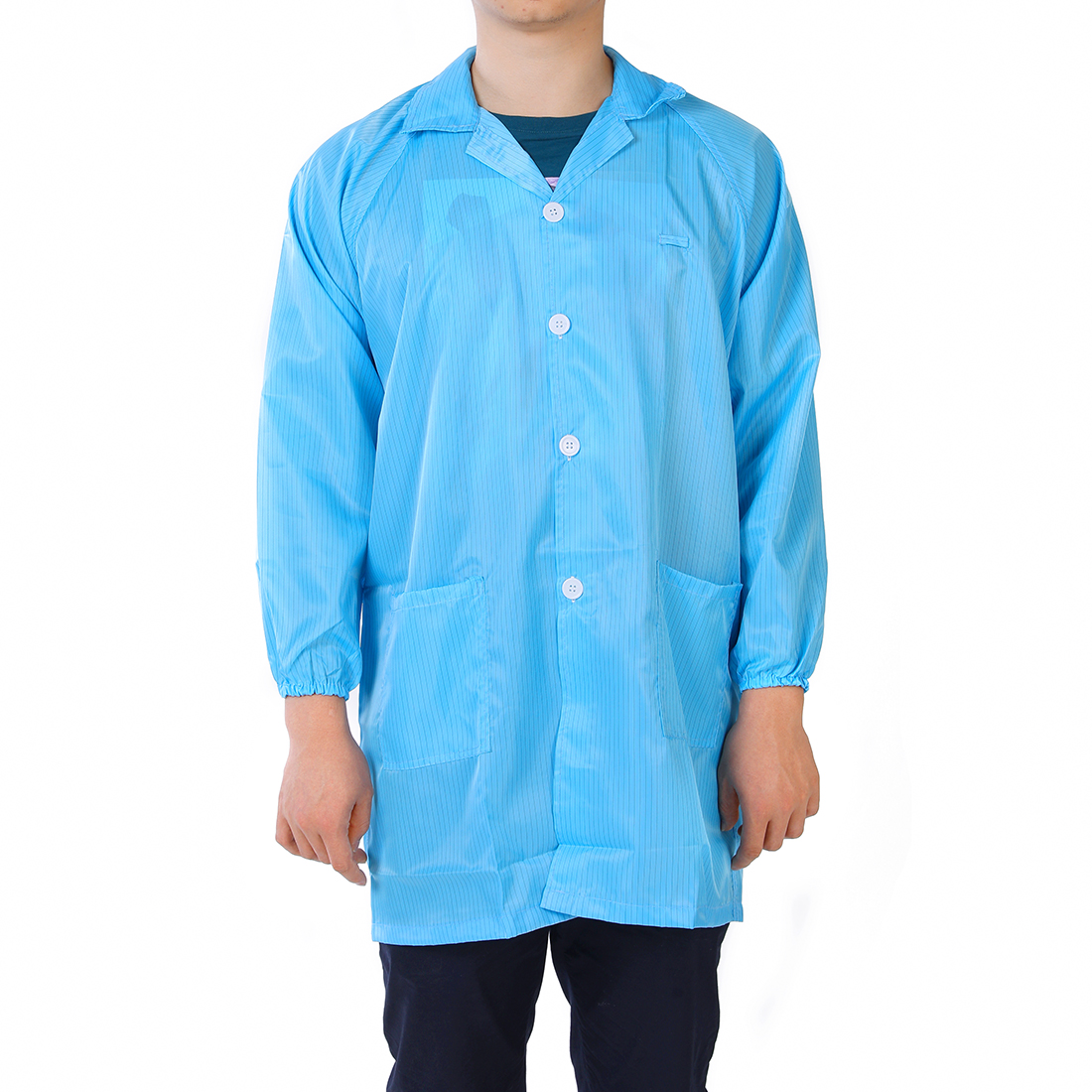 Anti Static Overalls Unisex ESD Lab Coat Button Up L Blue